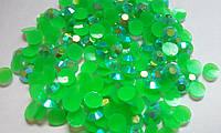 Стразы клеевые акриловые Green AB, 4мм. Цена за 100 шт