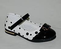 Детские туфли для девочек Солнце арт.SB16204-A чб горошек (Размеры: 27-31)