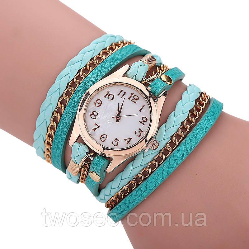 Женские наручные часы-браслет кварцевые Relogio модные бирюзовые (tiffany)