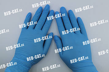 Перчатки нитриловые неопудренные голубые