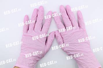Перчатки нитриловые неопудренные розовые