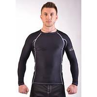 Мужской Рашгард черный + белая строчка с длинным рукавом для MMA LEGACY LONG SLEEVE black/white