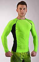 Мужской Рашгард салатовый с длинным рукавом для MMA  SLEEVE HYPER NEON green