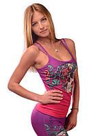 Женская майка для спорта розово малиновая с принтом PERIL BEAUTY