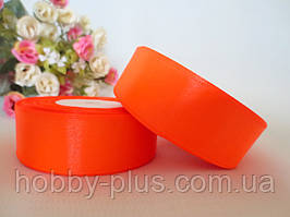 Атласная лента 2,5 см, цвет оранжевый (неон)
