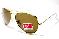 Солнцезащитные очки Ray Ban Aviator Стекло 3026 B34 SM 01189 с коричневыми линзами и золотистой оправой