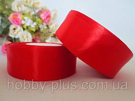 Атласна стрічка 2,5 см, колір червоний