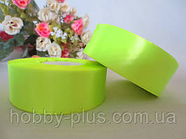 Атласная лента 2,5 см, цвет салатовый (неон)