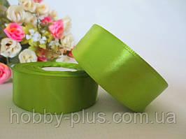 Атласная лента 2,5 см, цвет травяной