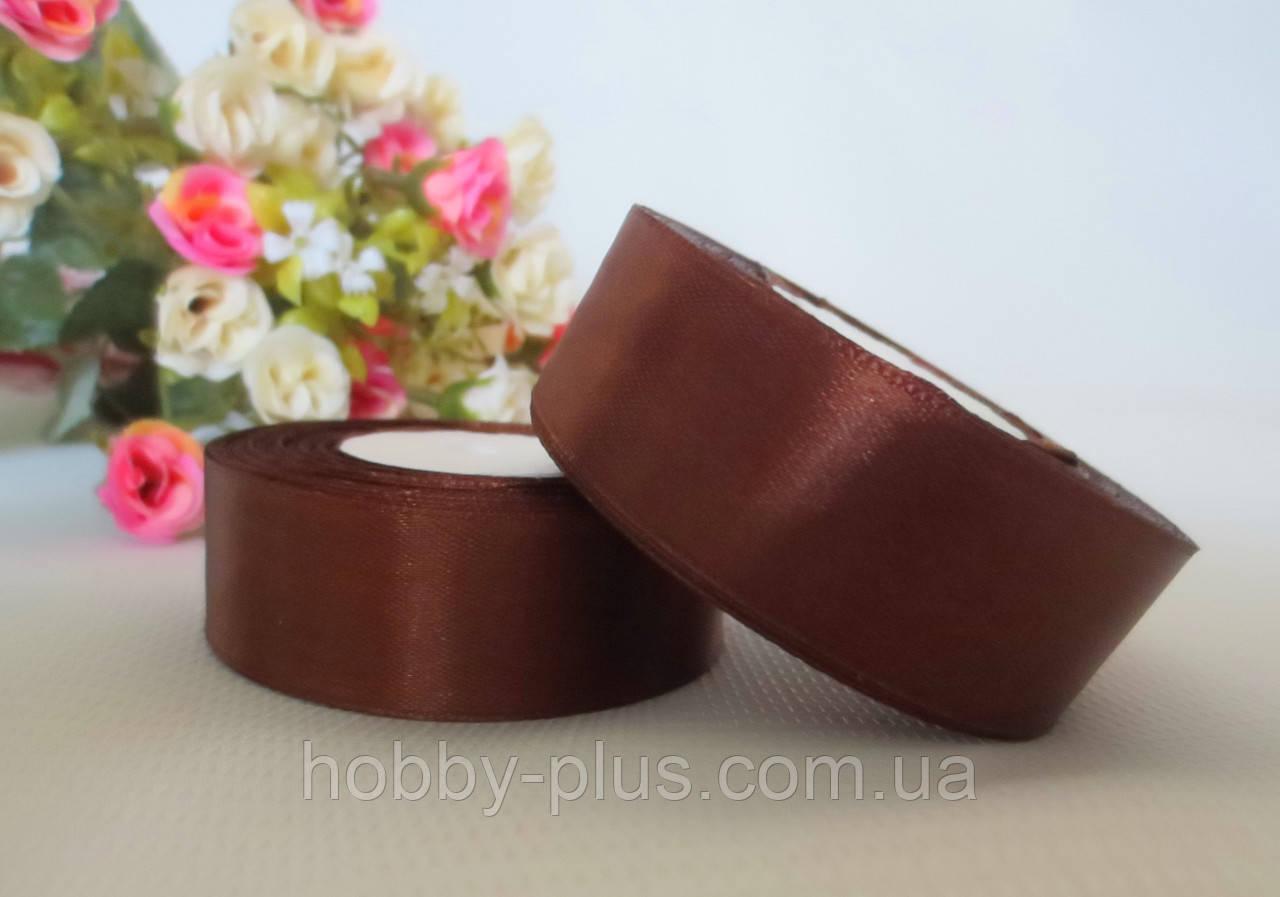 Атласная лента 2,5 см, цвет коричневый