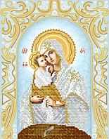 """Схема для вышивки бисером на атласе икона """"Богоматерь Почаевская"""" (серебро)"""