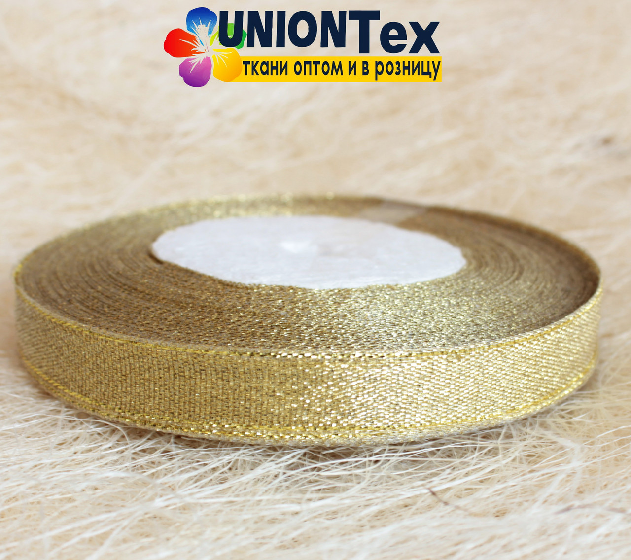 Лента парча 1,5 см золото