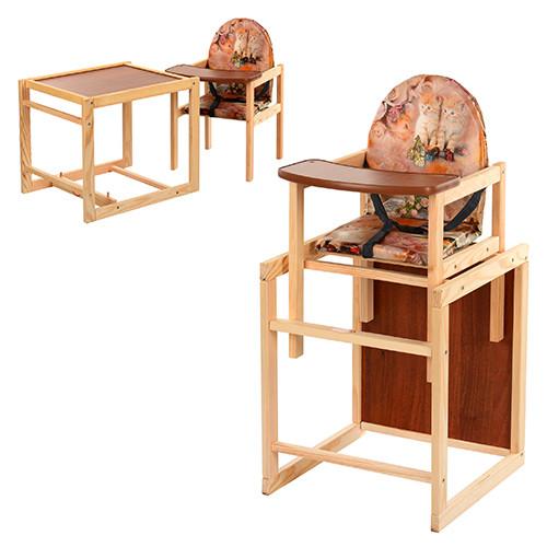 Стульчик-трансформер для кормления деревянный Vivast М V-001-3