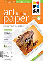 Бумага CW ART глян./факт. кожа 230г/м, 10л, A4