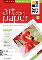 Бумага CW ART глян./факт. ткань 230г/м, 10л, A4