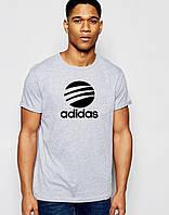 Футболка  Adidas  Адидас мужская серая чёрный знчёк