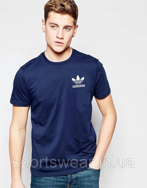 Футболка  Adidas  Адидас синяя белый цветок мелкий