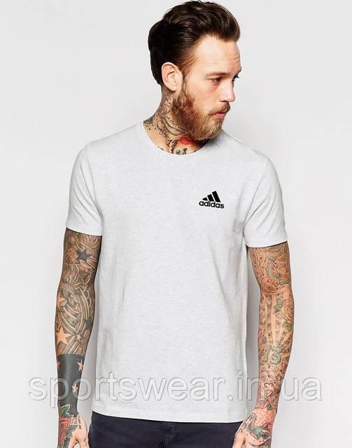 Футболка   Adidas  Адидас трикотажная белая чёрный лого мелкий