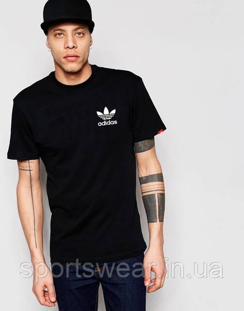 Футболка  Adidas  Адидас чёрная цветок белый мелкий