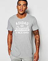 Футболка  Adidas  Адидас Ориджинал серая белый принт