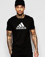 Футболка  Adidas  Адидас трикотажная чёрная белый лого