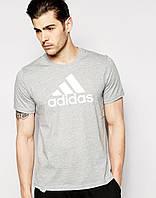 Футболка  Adidas  Адидас трикотажная серая белый лого