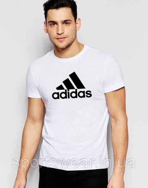 Футболка  Adidas  Адидас трикотажная белая чёрный лого