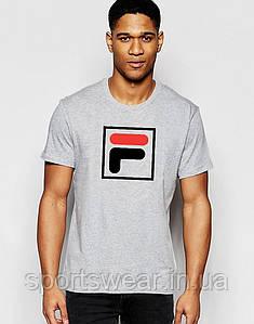 Футболка FILA серая цветной  лого