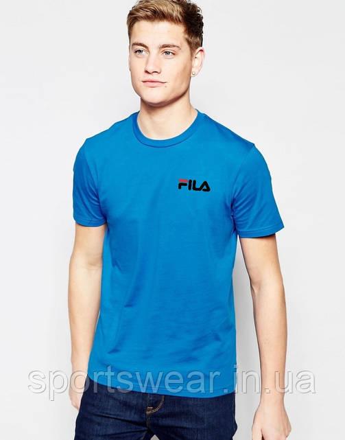 Футболка FILA голубая чёрный лого мелкий