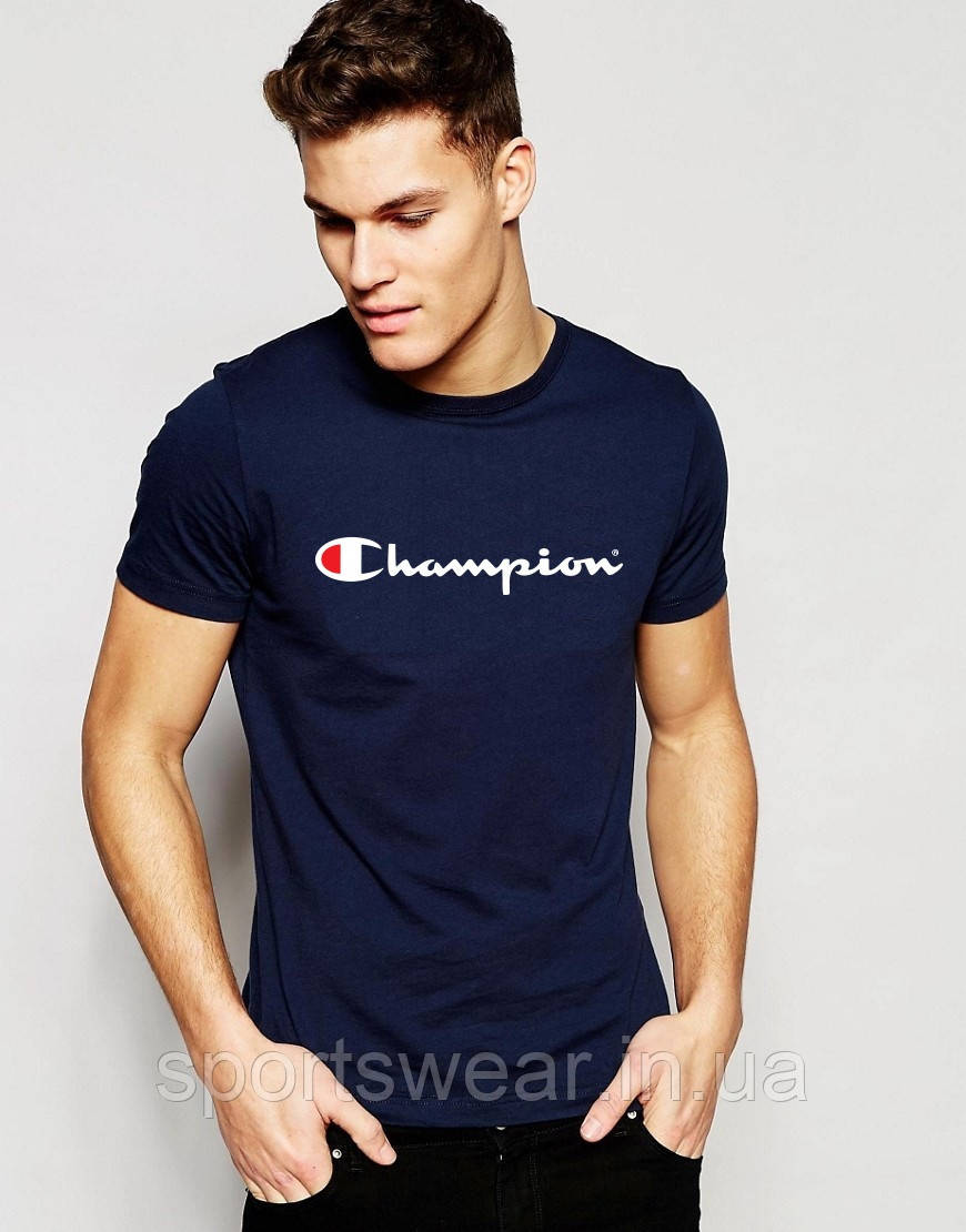 "Футболка Чемпион  Champion  синяя белый лого  """" В стиле Champion """""