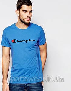 Футболка Чемпион  Champion  голубая чёрный лого
