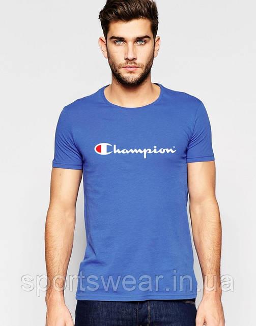 Футболка Чемпион  Champion  голубая белый принт
