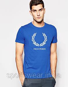 """Футболка Fred Perry голубая белый лого """""""" В стиле Fred Perry """""""""""