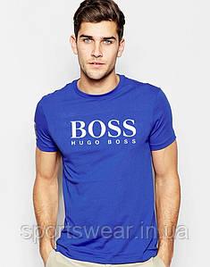Футболка Hugo Boss голубая белое лого