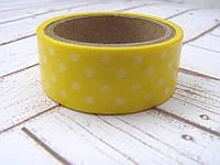 """Бумажный декоративный скотч """"Горошек"""", фон желтый, 15мм, 5м"""