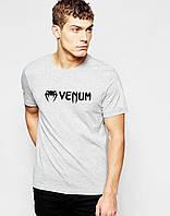 """Футболка Веном """"Venum"""" серая мелкий значёк чёрный"""