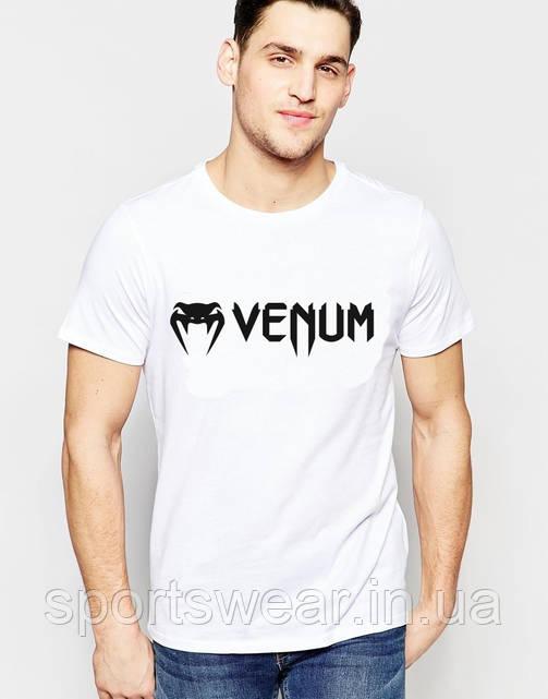 Футболка Веном  Venum  белая мелкий значёк чёрный