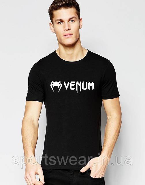 Футболка Веном  Venum  чёрная мелкий значёк белый