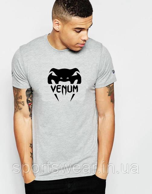 Футболка Веном  Venum  серая чёрный принт