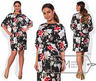 Стильное платье в больших размерах т-202114