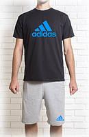 """Комплект Адидас  Adidas  шорты серого  и футболка  черного  цвета    """""""" В стиле Adidas """""""""""