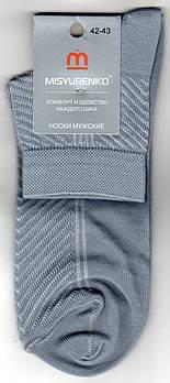 Шкарпетки чоловічі х/б з сіткою Місюренко, М11В111П, 25 розмір, середні, світло-сірі, 02293