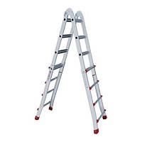 Лестница алюминиевая универсальная раскладная телескопическая 4x4 ступ. 4.20м Intertool LT—2044