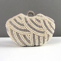 Вечерний выпускной клатч золотистый жемчуг, фото 1