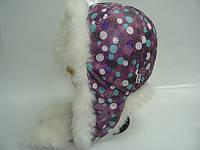 Шапка зимняя фиолетовая в горошек, фото 1