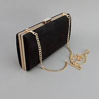 Черная замшевая сумочка 8119 вечерний женский клатч-бокс на цепочке