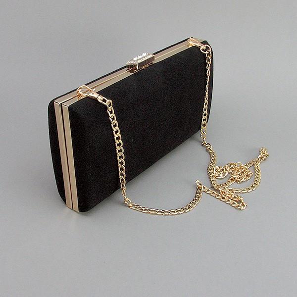 24c26c379b15 Черная замшевая сумочка 8119 вечерний женский клатч-бокс на цепочке -  Интернет магазин сумок SUMKOFF