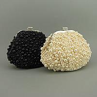 Женский вечерний клатч из бус черный, фото 1