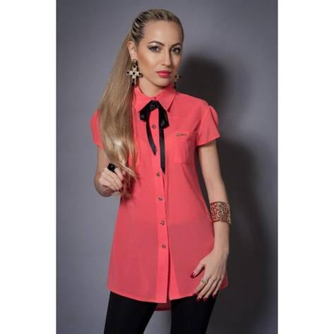 Блуза шифоновая с бантом коралловая, фото 2