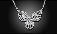 Колье листья покрытие 925 серебро